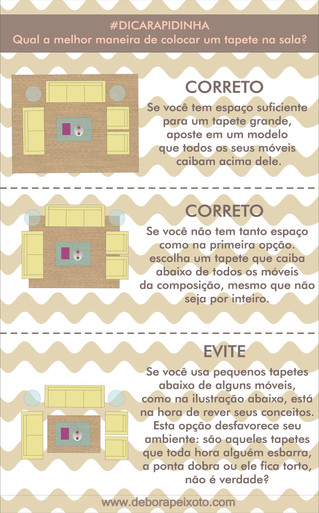 #dicarapidinha de hoje: Qual a melhor maneira de colocar um tapete na sala?