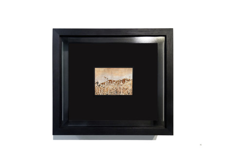 Study for a Solipsism, 2018  Watercolour (with heroin) on Arche paper, black oak frames, museum quality anti-reflective glass.   Dimensions: 34,5 cm x 39 cm, depth: 10 cm. Dimensions of each watercolour: 21 cm x 14,5 cm
