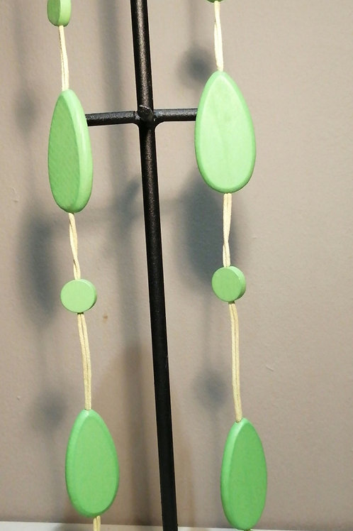 Long Lime Wooden Necklace with Matching Cord