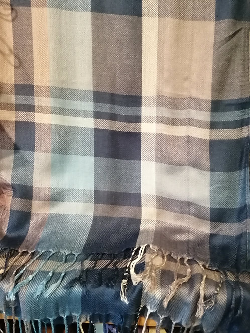 Large Checked Pashmina in Blue and Grey