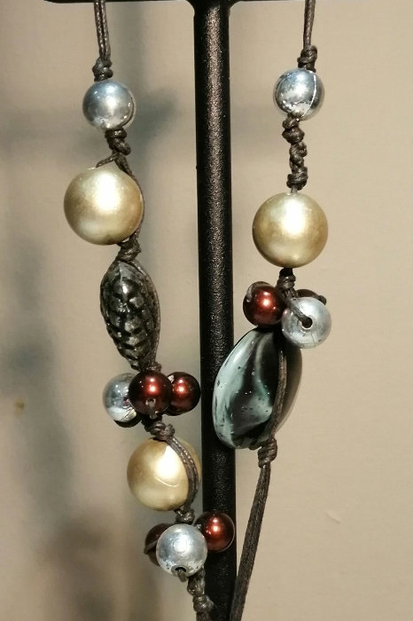 Large Cream Pearl Disc pendant with beads and heart detail with black cord