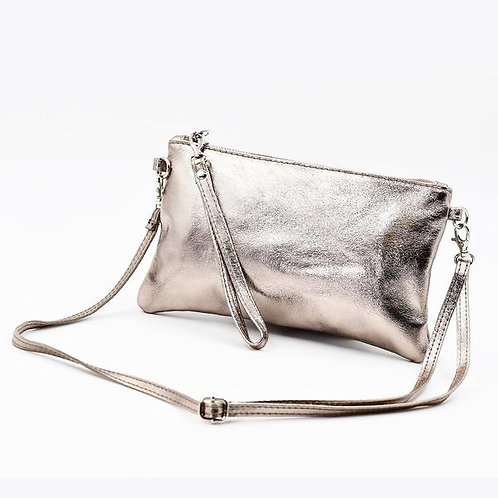 Leather bag with crossover strap and hand strap. Colour bronze