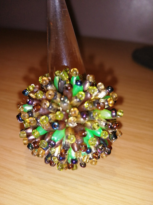 Green multi coloured stones ring