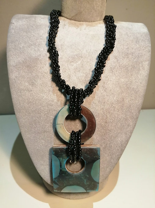Black Bead Turquoise Resin Square/Circle Pendant Necklace