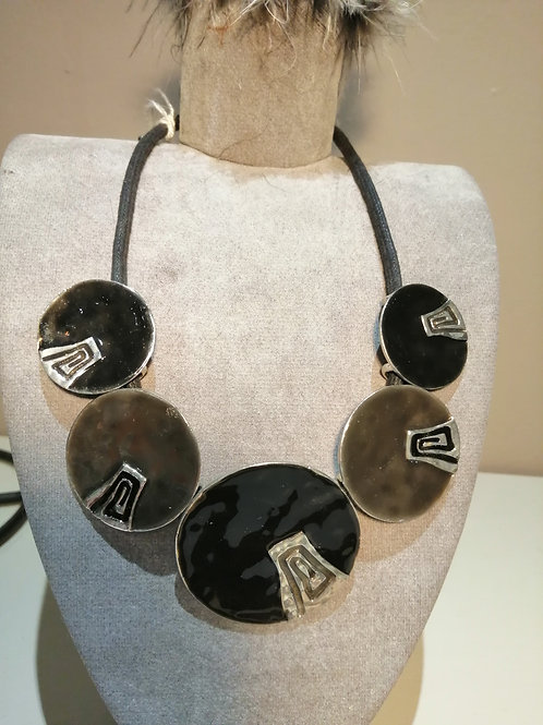 Bronze and Grey Metal Disc with Black Cord Necklace