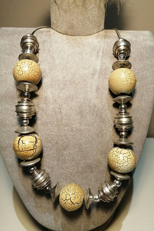 Silver and Cream Beaded Antique like Necklace