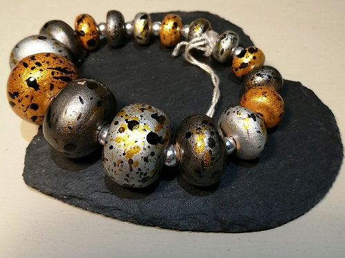 Ochre and Silver Elasticated Bracelet
