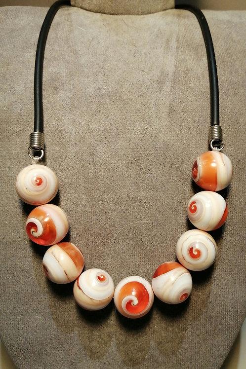 Orange and White Swirl Beaded Necklace on Black Cord