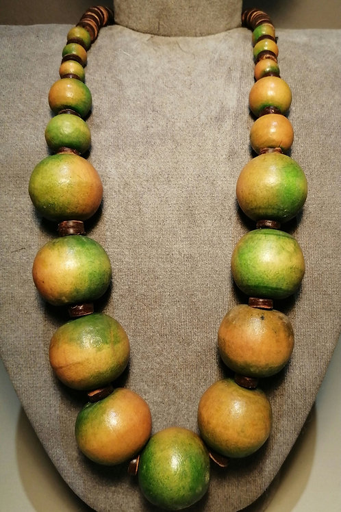 Green and Yellow Wooden Beaded Necklace