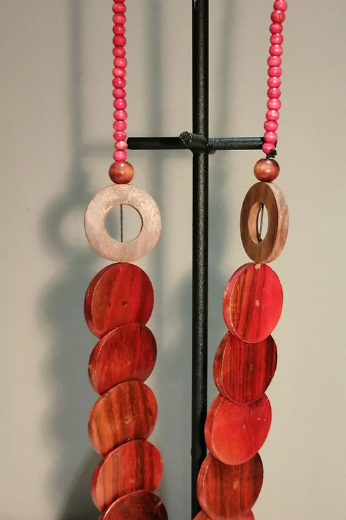 Red Wooden Disc and Bead Long Necklace