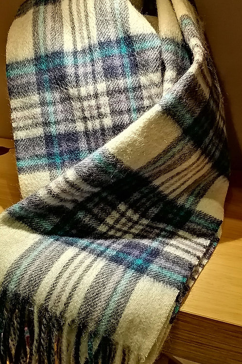 Soft Checked Scarf in Cream and Blue
