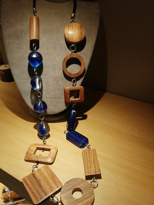 Long wooden and blue bead necklace