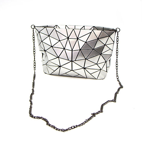 Design led bag with chain strap.  Colour silver