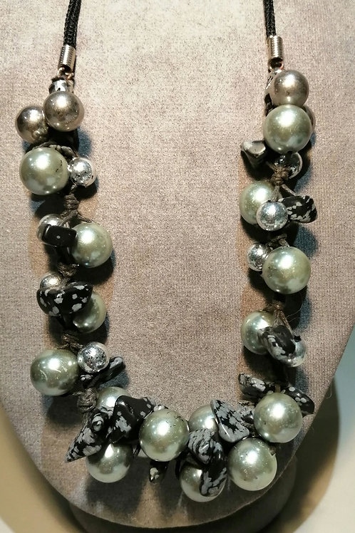 Silver Beaded and Black Stone Necklace with Black Tweed