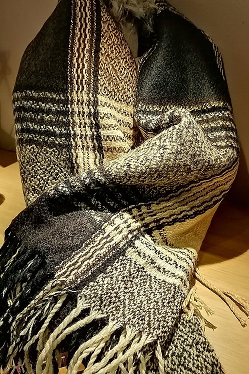 Black and Camel Cosy Checked Scarf