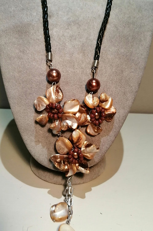 Bronze and Gold Three Flower Necklace with Black Cord