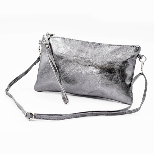Metallic clutch bag with crossover strap and hand strap