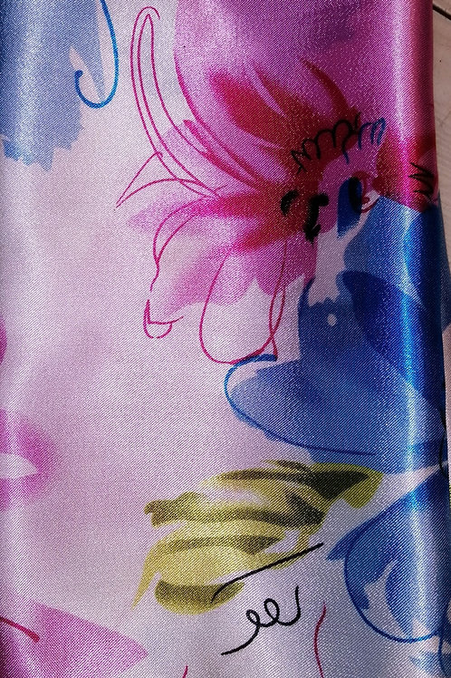 Small Square Silky Scarf in Blue and Pink