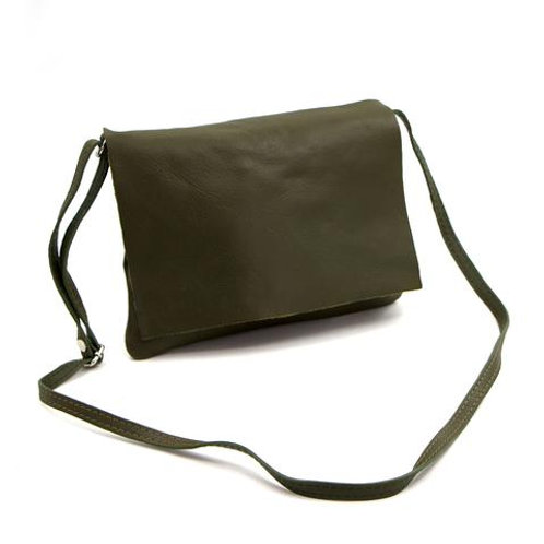 Soft leather bag with crossover strap. Colour Olive green. SIZE w18.5cm h.20