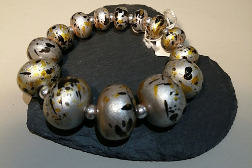 Silver with Black and Ochre Elasticated Bracelet