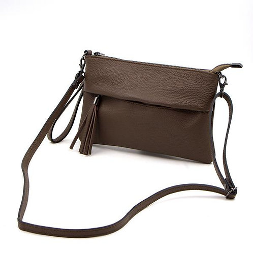 Leather bag with crossover strap and hand strap with tassle. Colour brown