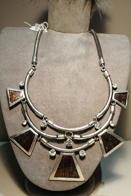 Silver and Bronze Metal heavy Necklace with Crystals
