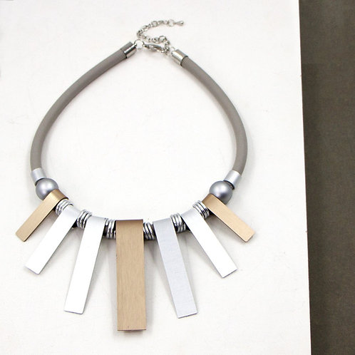 Neoprene necklace with bronze, silver and gold