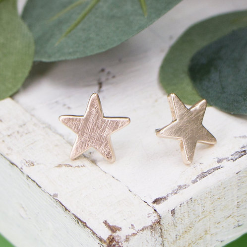 Star earrings in brushed rose gold colour
