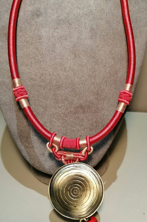 Red Thick Cord Necklace with Bronze Pendant with Chains and Beads