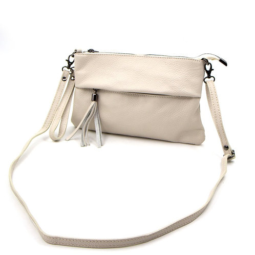 Leather bag with crossover strap and hand strap