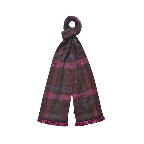Tweed Scarf with Velvet trim in Mulberry