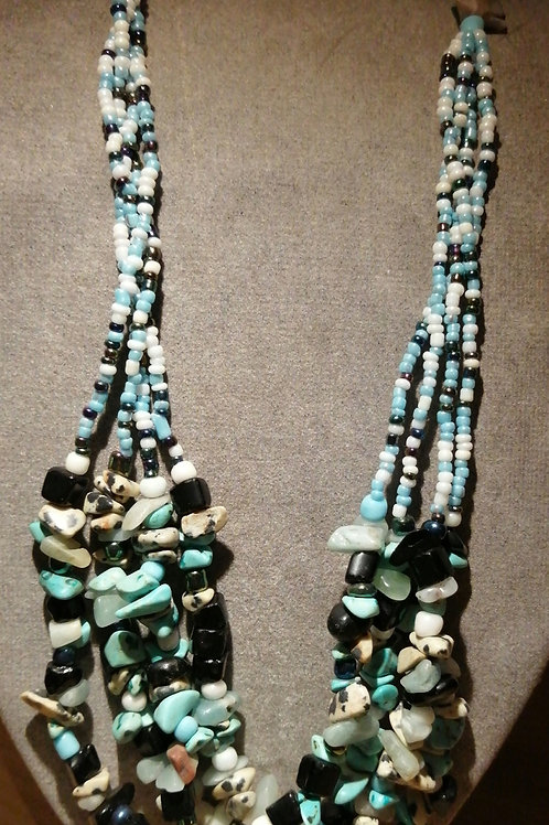 beaded mult-istrand necklace