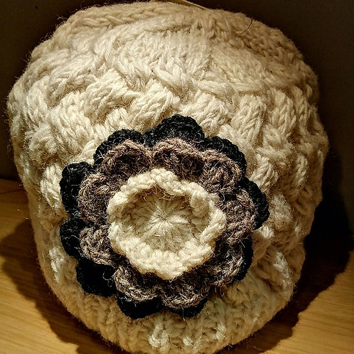 wool cream hat with flower handmade in Nepal Fair Trade