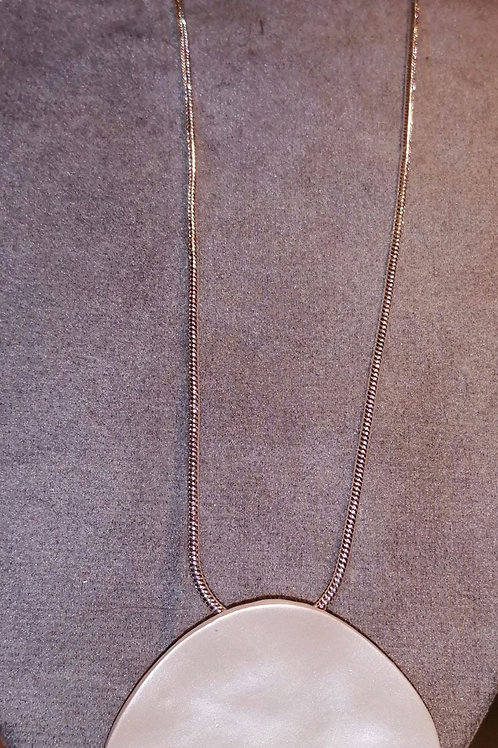 Necklace with Matt Silver effect Disc with Silver coloured chain