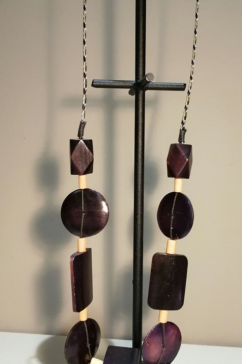 Long Purple Wooden Necklace