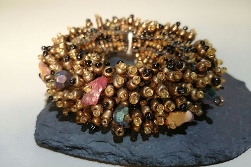 Copper and Black Beaded Bracelet with Multi Coloured Stones