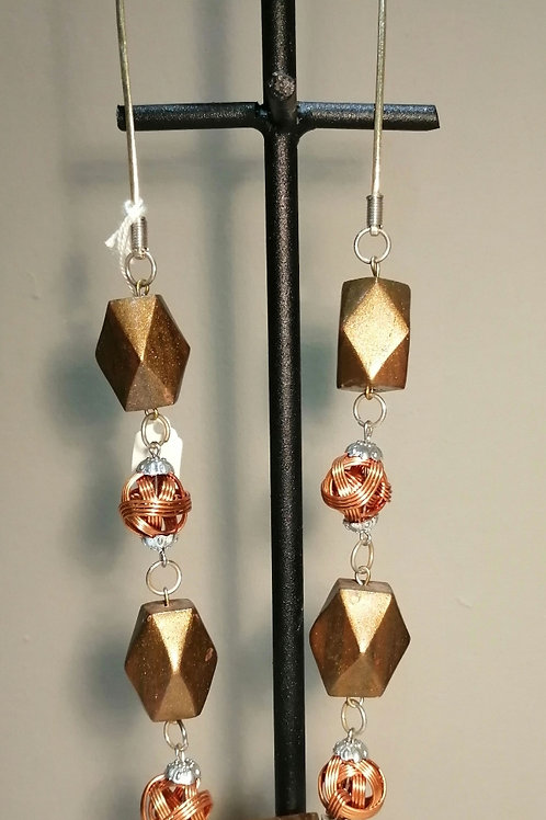 Gold and Bronze Wooden and Metal Long Necklace