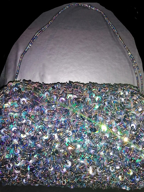 Bag sequined beaded multicoloured