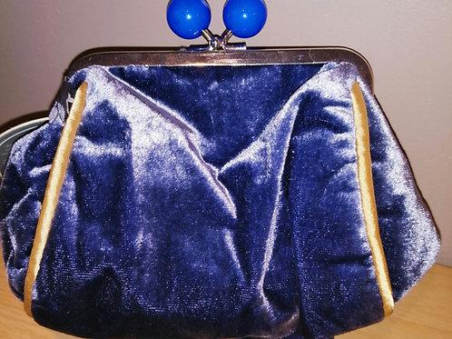 Purple and Yellow Velvet Purse/Make-up Bag