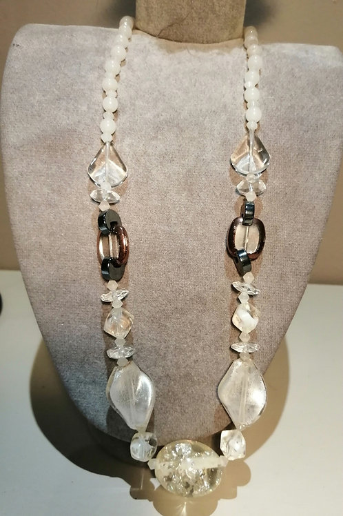 White Pearl and Beaded Necklace