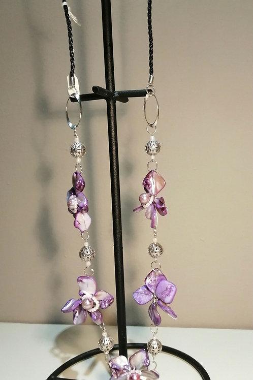 Purple Flowers Long Necklace
