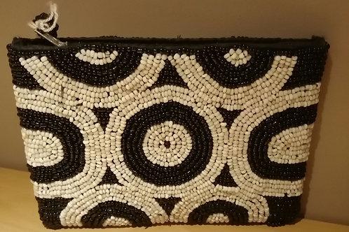 beaded purse black white circles
