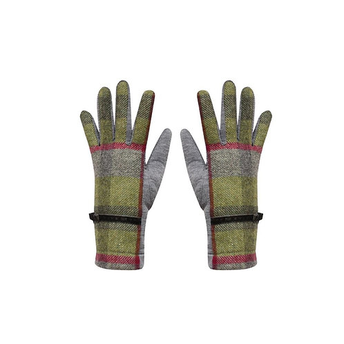 Tweed gloves in Stone Moss