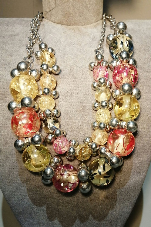 Silver Chain and Multi-coloured Bead Chunky Necklace