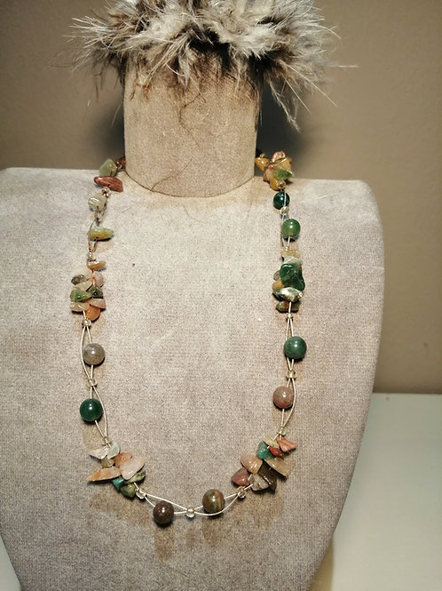Delicate Wire Jade and Natural Coloured  Beaded Necklace