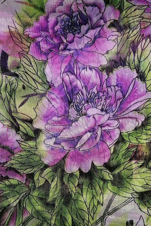 Long Chiffon Purple/Green Flower Scarf