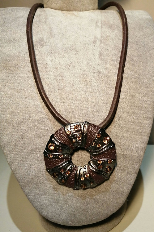 Brown, Silver Pendant with Copper Stones on Brown Cord