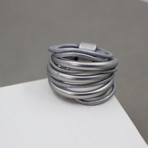Grey Leather multistrand ring with silver