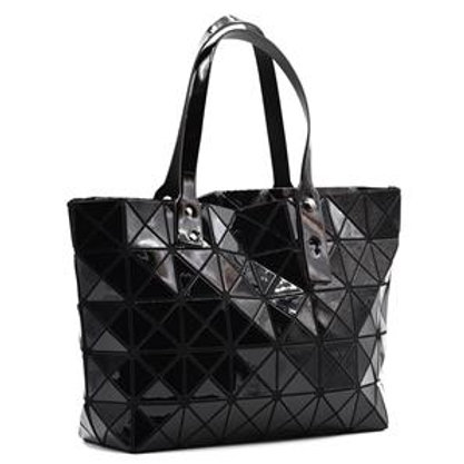 Design led black triangle tote bag
