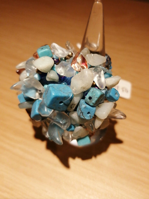 Blue stone ring with stretch beaded band